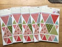 5 brand new packs of bunting stickers