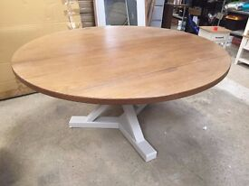 HARTFORD Solid Pine with grey painted legs and a rough sawn finish table