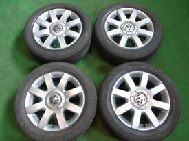 "VW SHARAN PASSAT, GOLF MK5, TOURAN, CADDY, T4, SKODA 16"" ALLOY WHEELS WITH TYRES"