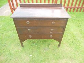 VINTAGE RETRO THREE DRAW CHEST OF DRAWS FOR recycling upcycling