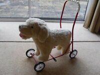 Children's Toy Push Along Dog on Wheels, Baby Walker.