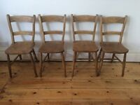 Vintage Antique Country Kitchen Farmhouse Chairs x 4