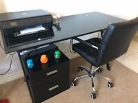 Black glass desk & chair