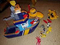 Imaginext boat, submarine and mini submarine & figures with diving gear