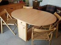 Folding dining table and 4 folding chairs - excellent condition