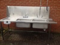 Stainless Steel Double Sink Large 210 cm W 70 cm Front to Back ,Shelf Underneath