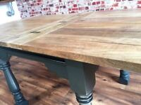 Reclaimed Folding Hardwood Rustic Kitchen Extending Folding Dining Table - Delivery Available