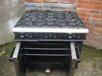 Blue seal Heavy duty G50D 6 burner Catering cooker with oven natural gas.
