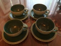 FANTASTIC CONDITION 4 Denby Cup and Saucers Green Blue Duck Egg