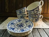 Vintage Johnson Brothers Blue Indies Blue & White Ironstone Teacup with Saucer (5 available)