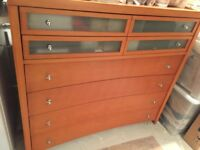 Chest of 6 drawers, solid wood, medium brown