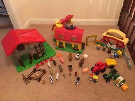Selection of farm buildings, farm animals, and farm vehicles