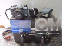 olympus om10 camera + acceseries