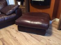 Brown Leather sofa 3,2 Seater and stool