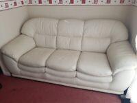 3 seater cream leather sofa Harvey's