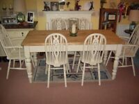 "SOLID PINE RUSTIC FARMHOUSE TABLE & SIX WHEEL BACK CHAIRS 5""5' x 2""5'"