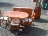 Dining set: table and 4 chairs, sideboard and tall corner unit. Free delivery within East Lothian