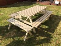 Large Wood Garden Picnic Bench Table (seats 8-10 people)