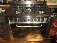 Gas & Electric INDESIT RANGE COOKER with Triple Ring (Wok) Burner & Rotisserie (Spit)