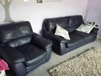 Blue leather 3 piece sofa