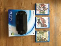 PS VITA with 3 GAMES & 2 MEMORY CARDS & MORE