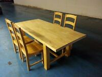 solid oak extendable dining table + 4 solid oak chairs (item 15)