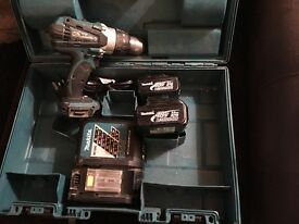 18v with two lithium batteries quick charger and box makita combi cordless drill