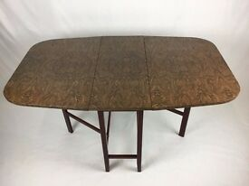 Formica Drop Leaf Table Walnut Effect Kitchen Dining Table - Retro 1950's / 60's