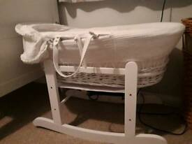 White wicker Moses basket, stand and matress