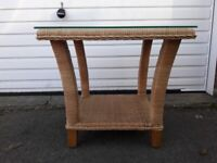 small conservatory Woven cane wicker rattan centre side table with glass inset