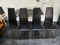 Javelin Black Glass Dining Table and 4 Chairs
