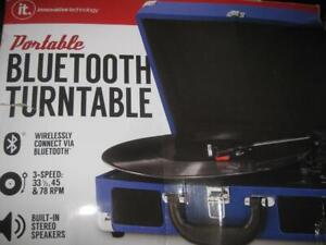 Innovative Technology Bluetooth Portable Suitcase Turntable. Play Music Wireless. AUX Audio Input. Stereo Speaker