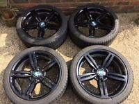 "SET OF 4 ALLOY WHEELS 19"" BLACK BMW 5, 6 WITH NEARLY NEW TYRES"