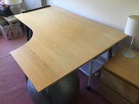 2 Ikea corner desks, one right, one left. Birch finish.