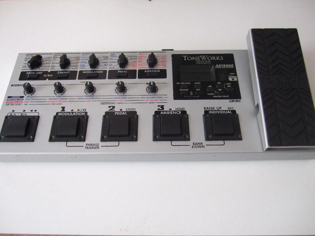Korg AX1500G Electric Guitar Effects Pedal & mains PSU ( Chorus Distortion  Delay Wah ...