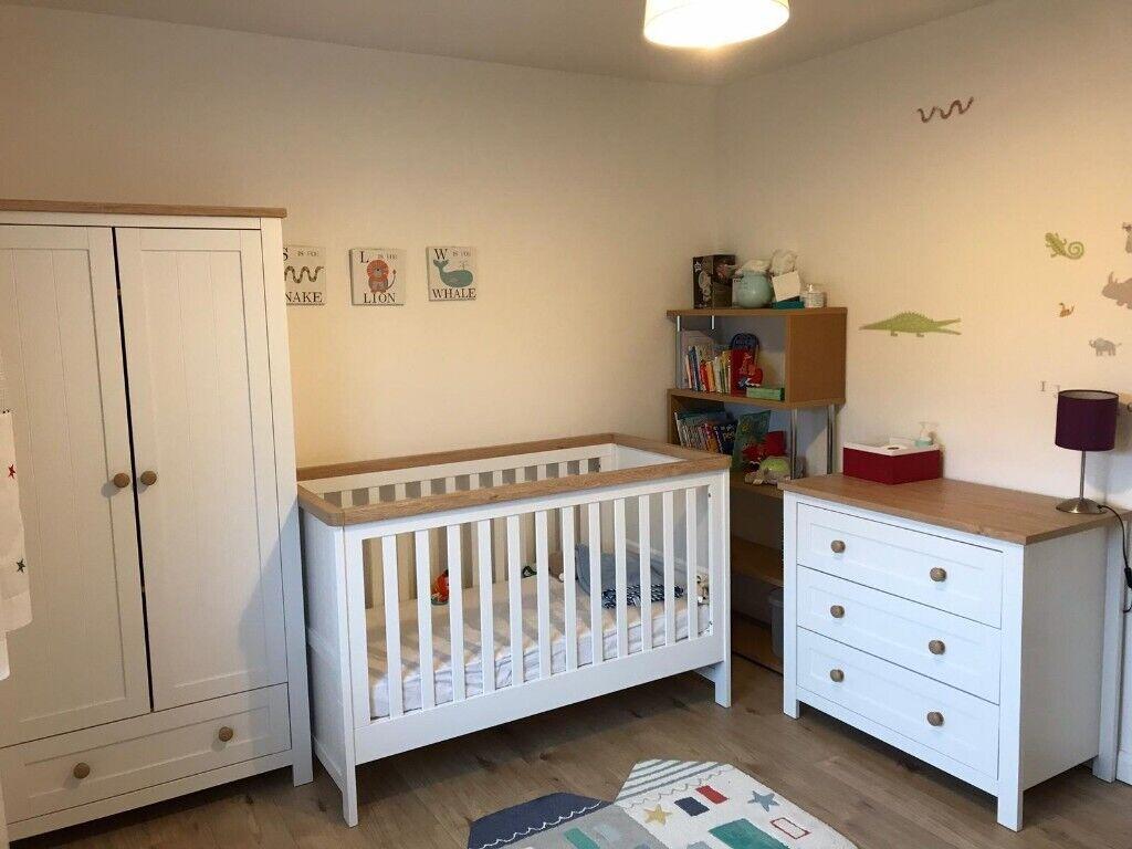 3 Piece Nursery Furniture Set Cot Bed