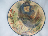 Vintage Ceramic Decorative Plate Fish / Sea Monster Design Puigdemont Pottery Spain