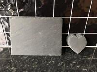 Slate placemats and heart shaped coasters