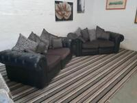 CHESTERFIELD STYLE BLACK LEATHER SOFA SET NEW