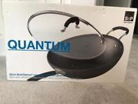 Large Unused Wok with Glass Cover (32cm)