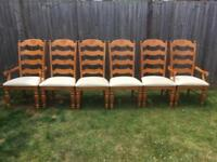 Set of 6 ladderback beech dining chairs