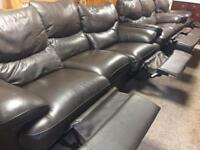 3-2-1 Dark Brown Leather Recliner Suite