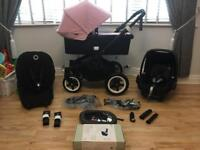 Bugaboo buffalo travel system pram black and soft pink or hot pink plus maxi cosi pebble