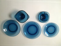 Vintage VERECO French mid-century blue crockery