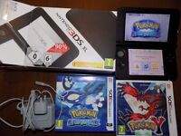 nintendo 3ds xl boxed working with charger and pokemon y and alpha sapphire