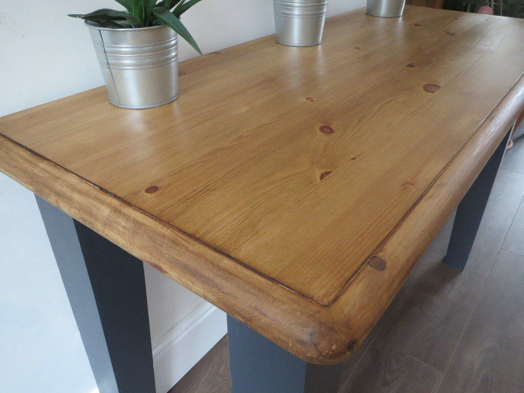Chunky Solid Pine Console Or Half Size Dining Table Flat Side Which Goes Against Wall