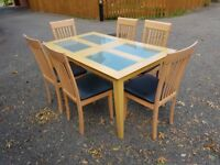 Frosted Glass/Wood Table & 6 Solid Wood Chairs FREE DELIVERY 327