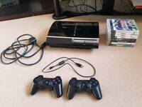 PS3 console with 2 controllers with Fifa, GTA 5, Pro Evo, COD and More!