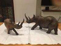 Pair of African wooden carved rhinos