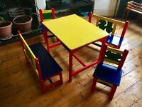 Kids table with matching benches and chairs